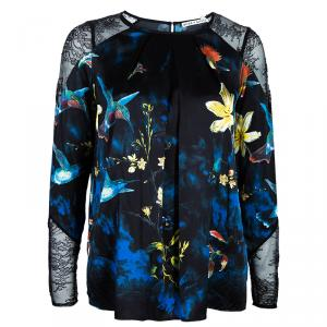 Alice + Olivia Black Bird Printed Satin and Lace Long Sleeve Top XS