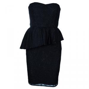 Alice + Olivia Jessie Black Dotted Strapless Dress M