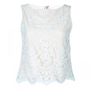 Alice and Olivia Cream Embroidered Sleeveless Top XS