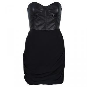 Alice + Olivia Roxanna Black Leather Bustier Gathered Dress M
