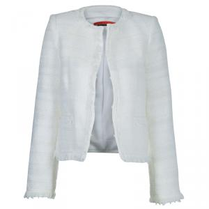 Alice + Olivia White Textured Boucle Jacket XS