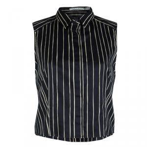 Alice + Olivia Black Striped Sleeveless Cotton Blouse L