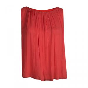 Alice + Olivia Red Silk Gathered Neckline Sleeveless Top XS