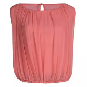 Alice + Olivia Pink Silk Gathered Sleeveless Top XS