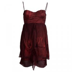Alice + Olivia Red Draped Silk Bustier Dress XS