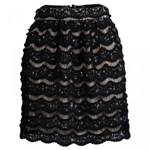 Alice + Olivia Black Sequin Embellished Lace Overlay Skirt S