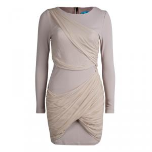 Alice + Olivia Beige Knit Draped Panel Detail Long Sleeve Dress M