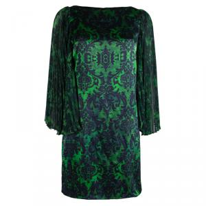 Alice + Olivia Green Printed Silk Plisse Sleeve Shift Dress S