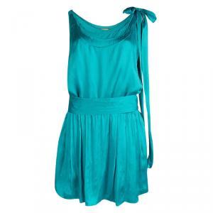Alice + Olivia Turquoise Blue Silk Sleeveless Belted Dress L