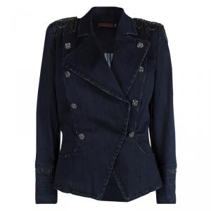 Alice + Olivia Indigo Distressed Denim Embellished Double Breasted Jacket L