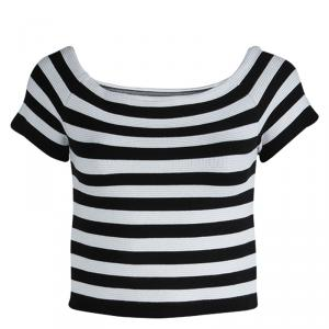 Alice +Olivia Monochrome Striped Rib Knit Cropped Top M