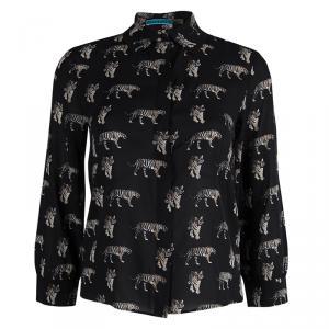 Alice + Olivia Black Tiger Printed Sheer Silk Cropped Shirt XS