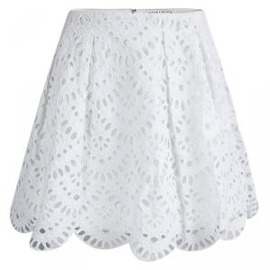 Alice + Olivia White Scalloped Eyelet Lace Gathered Skirt S