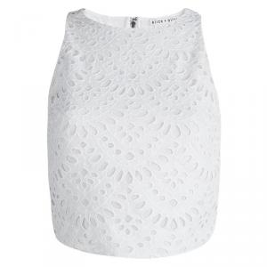 Alice + Olivia White Eyelet Lace Sleeveless Cropped Top S