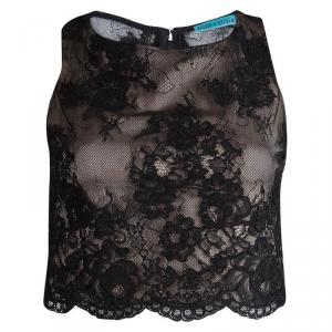 Alice + Olivia Black Scallop Lace Overlay Sleeveless Cropped Top XS