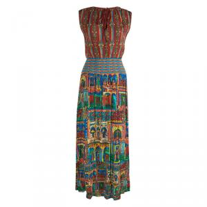 Alice + Olivia Multicolor Printed  Smocking Detailed Crushed Maxi Dress S