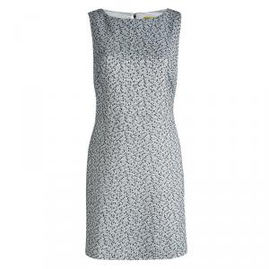 Alice and Olivia Monochrome Textured Cut Out Back Detail Dress L