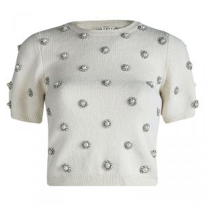 Alice + Olivia Off White Wool Bay Pearl Rhinestone Embellished Cropped Sweater S