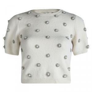 Alice + Olivia Off White Wool Bay Pearl Rhinestone Embellished Cropped Sweater S