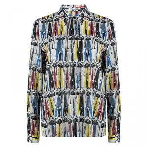 Alice + Olivia Multicolor Willa Printed Silk Long Sleeve Button Front Shirt  M