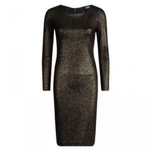 Alice + Olivia Textured Gold Knit Sheer Back Detail Long Sleeve Dress M