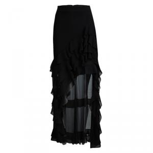 Alice + Olivia Black Lavera Asymmetrical Layered Ruffle Skirt S