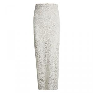 Alice + Olivia Cream Floral Lace Maxi Skirt M