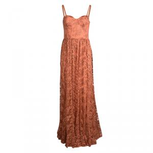 Alice + Olivia Orange Tyler Bustier Lace Maxi Dress M