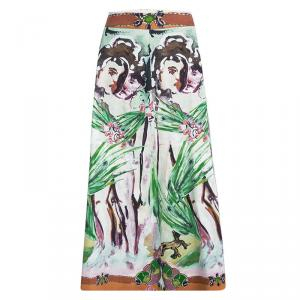 Alice + Olivia Multicolor Printed Cotton High Waist Midi Skirt M