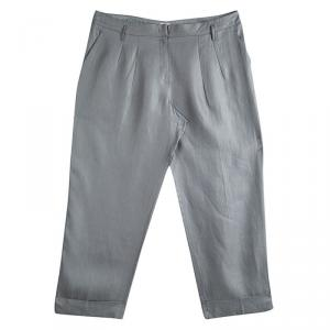 Armani Collezioni Grey Linen Wide Leg Trousers XL