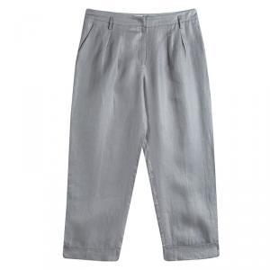 Armani Collezioni Grey Linen Wide Leg Trousers L