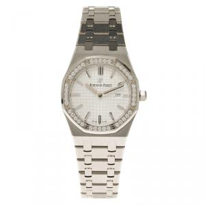 Audemars Piguet Silver Stainless Steel Diamond Royal Oak Women's Wristwatch 33MM