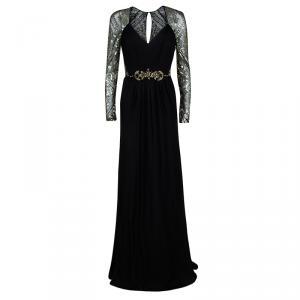 Badgley Mischka FW'14 Black Silk Embellished Evening Gown M