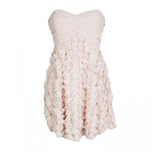 Badgley Mischka Blush Pink Chiffon Petal Applique Strapless Cocktail Dress M