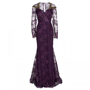 Badgley Mischka Couture Purple Lace  Embellished Shoulder Detail Long Sleeve Gown M