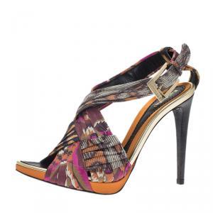Baldinini Multicolor Floral Print Criss Cross Sandals Size 40