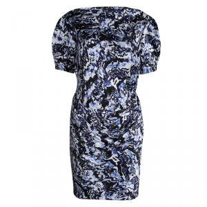 Balenciaga Blue Printed Silk Draped Short Sleeve Dress M