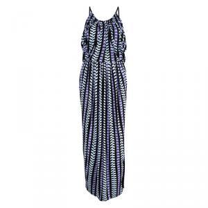 Balenciaga Multicolor Printed Knit Draped Maxi Dress S