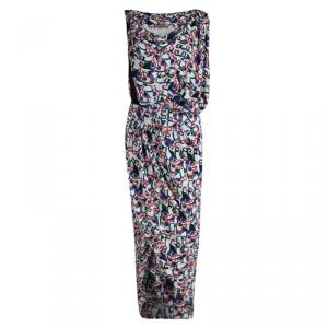 Balenciaga Multicolor Printed Silk Draped Asymmetrical Dress M