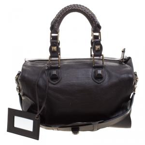 Balenciaga Dark Brown Lizard Embossed Leather Box Bag
