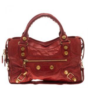 حقيبة بالنسياغا كلاسيك سيتي GGH جلد أحمر