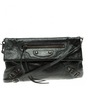 Balenciaga Black Leather Classic Hardware Strap Envelope Clutch