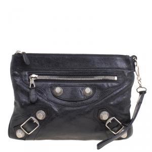 Balenciaga Black Leather GSH Flat Clutch