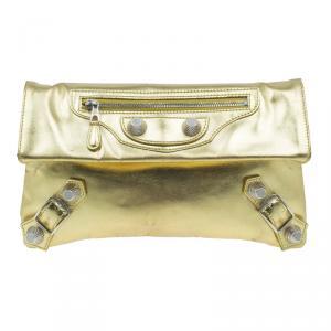 Balenciaga Gold Laminated Calfskin Giant 21 Envelope Clutch