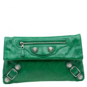 Balenciaga Green Leather Giant 21 Silver hardware Envelope Clutch