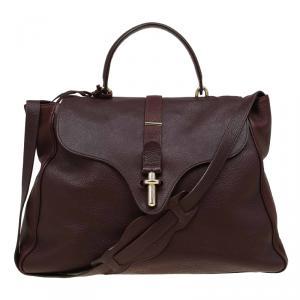 حقيبة بالنسياغا جلد بنية كلبس أنبوبي بيد علوية