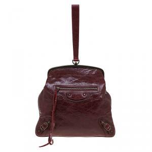 Balenciaga Burgundy Leather Aumoniere Wristlet Clutch