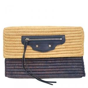 Balenciaga Navy Raffia Clutch Bag