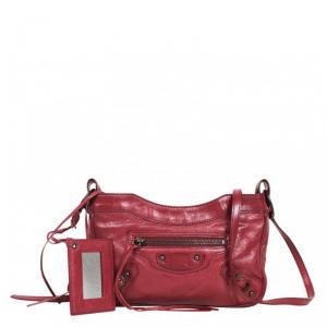 Balenciaga Burgundy Leather Hip Cross-Body Bag