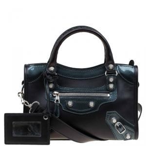 Balenciaga Black Leather and Patent Mini City Silver Hardware Bag
